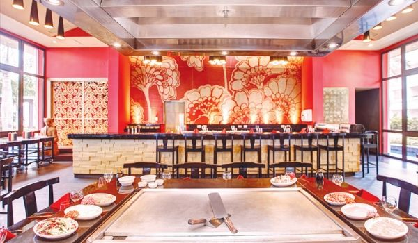 Asian-themed restaurant with Teppanyaki cooking table