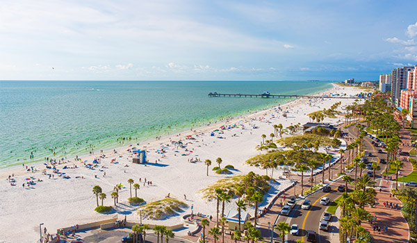 Clearwater Beaches' white-sand shores, sprawling pier and bustling boardwalk.
