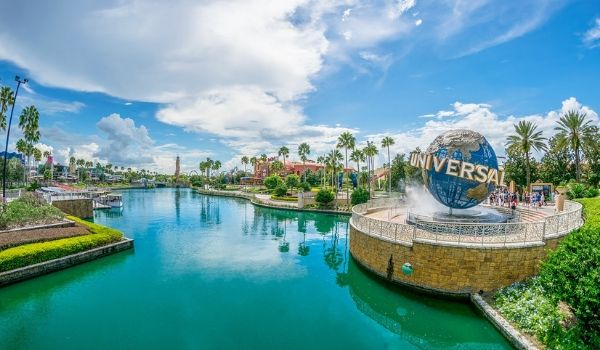 Universal Orlando sign by the river