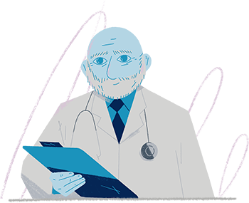Illustration: doctor reading patient's chart to see the kinds of dementia-related hallucinations and delusions they're having