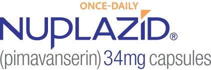 NUPLAZID® (pimavanserin) logo - once daily - 34 mg capsules