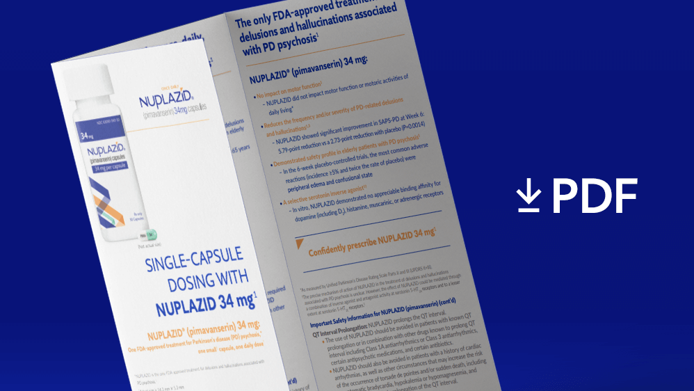 "Guide with ""PDF"" listed next to it and a download arrow representing NUPLAZID® dosing guide available to read & download"