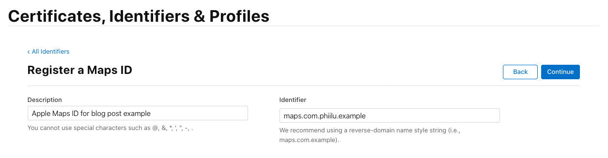 Apple Developer Console - Create Maps ID