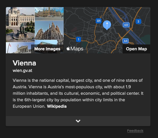 DuckDuckGo Apple Maps search result