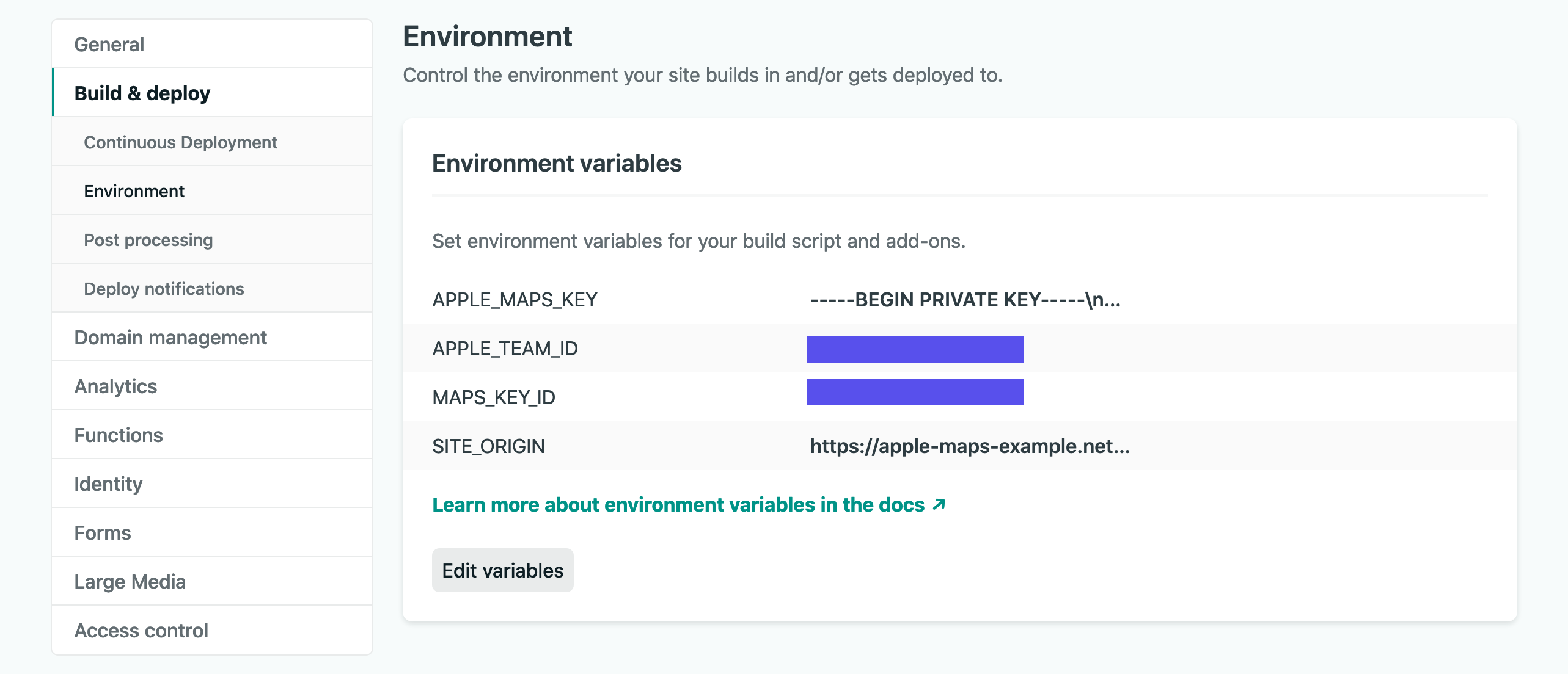 Netlify Dashboard - add environment variables