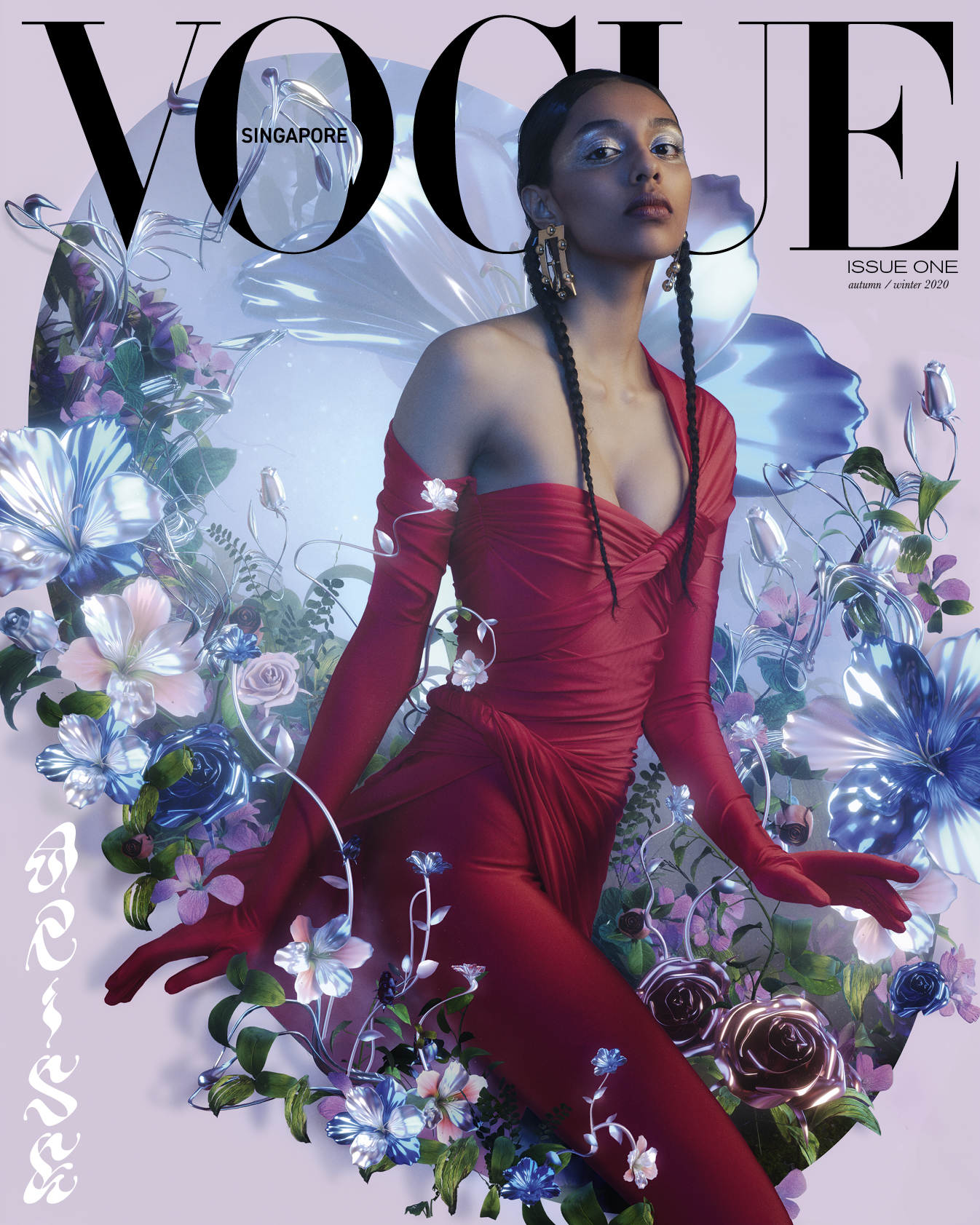 Singaporean model, Diya Prabhakar, photographed for Vogue Singapore by Bryan Huynh with CGI floral illustration by Rodolfo Hernandez.
