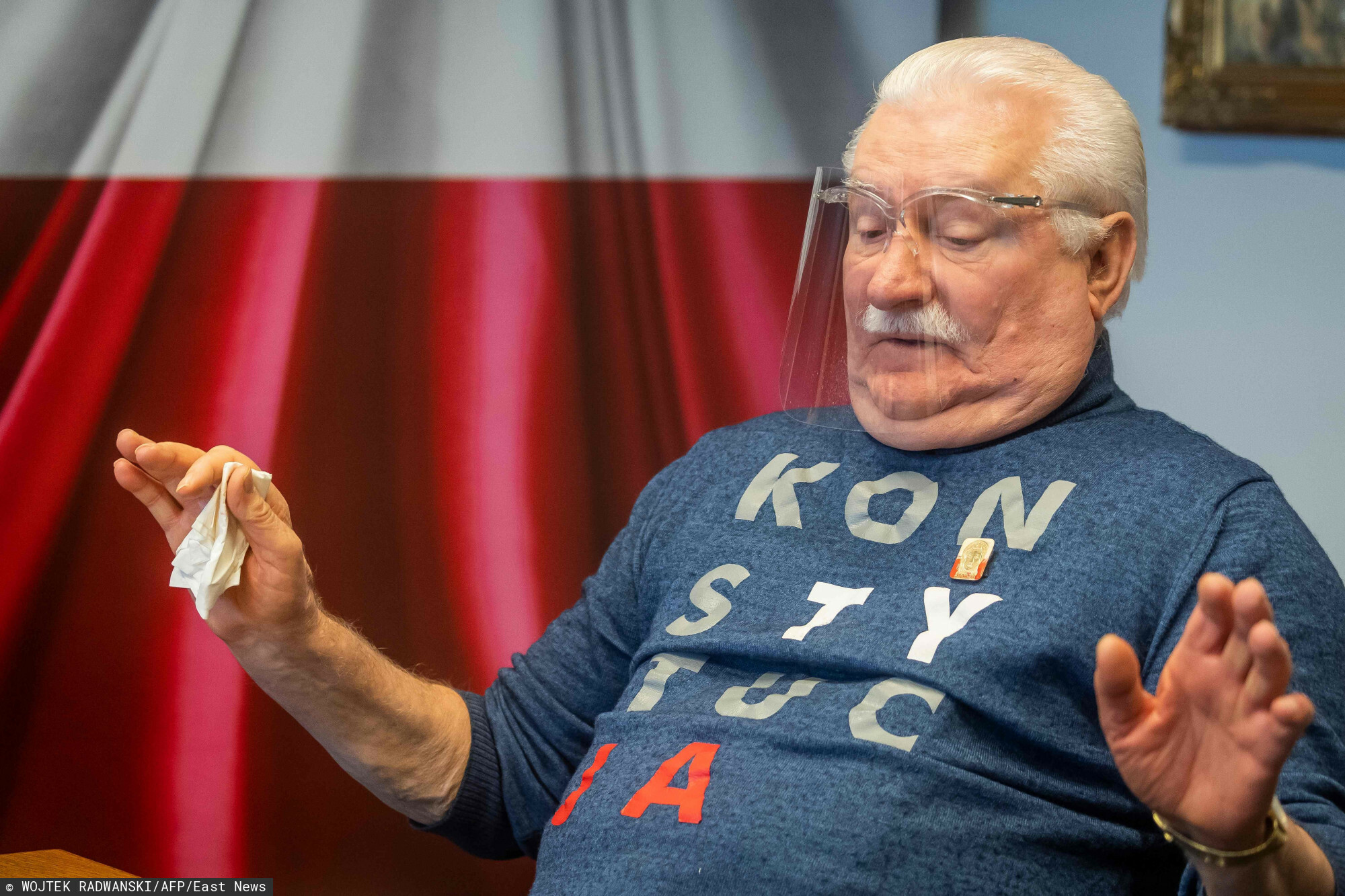 """Lech Walesa, former president of Poland and Nobel Prize for peace laureate, is pictured on February 3, 2021 during an interview in his office in Gdansk, Poland. - Polish freedom icon and Nobel laureate Lech Walesa on Wednesday said Russian opposition figure Alexei Navalny is a """"hero"""" who is well on his way towards deserving the famous peace prize. (Photo by Wojtek RADWANSKI / AFP)"""