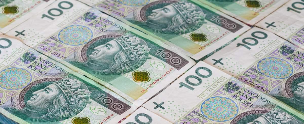 Fot: Arkadiusz Ziolek/ East News. N/z ulozone polskie banknoty 100 zl.