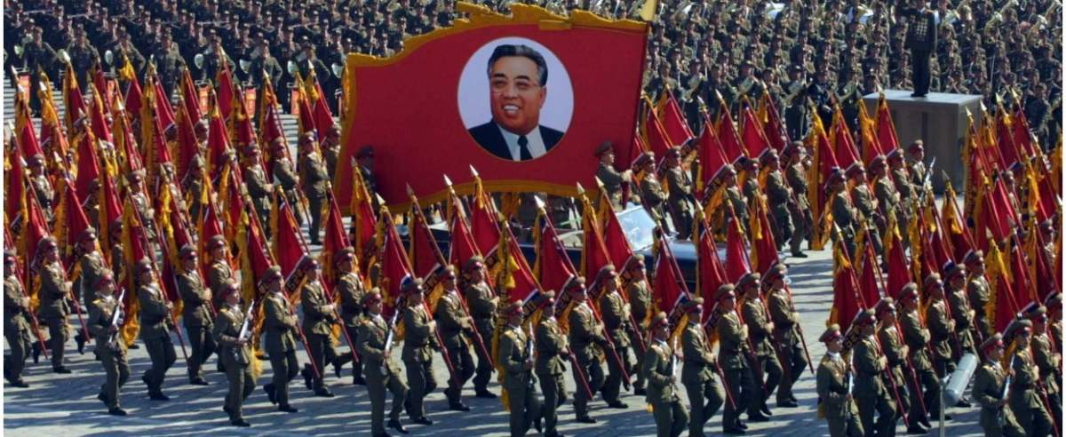 PHOTO: EAST NEWS/XINHUA (051010) -- PYONGYANG, Oct. 10, 2005 (Xinhua) -- Soldiers of the Democratic People's Republic of Korea (DPRK) parade in its capital city of Pyongyang to mark the 60th founding anniversary of the Workers' Party of Korea (WPK), the ruling party of DPRK, on Oct. 10, 2005. DPRK held parade and mass assembly on the 60th anniversary of the founding of WPK here on Monday