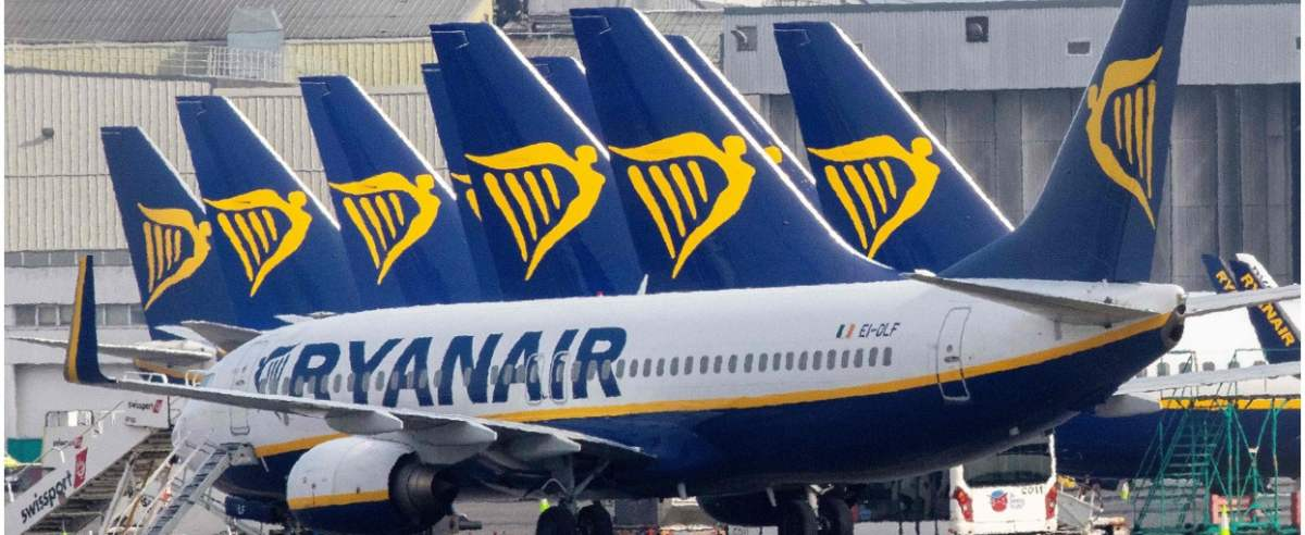 (FILES)This file photograph taken on March 23, 2020, shows Ryanair passenger aircraft on the tarmac at Dublin airport. - Irish low-cost carrier Ryanair said May 1, 2020, that it plans to axe up to 3,000 pilot and cabin crew jobs, with air transport paralysed by the coronavirus pandemic. Dublin-based Ryanair added in a statement that most of its flights will remain grounded until at least July and predicted it would take until summer 2022 before passenger demand recovers. (Photo by Paul Faith / AFP)
