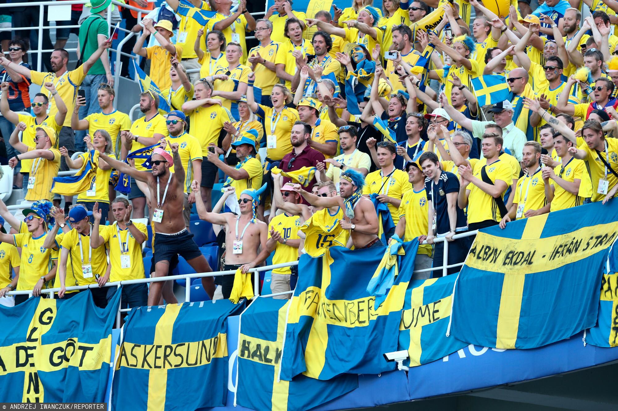 18.06.2018 Rosja Nizny Nowogrod Mistrzostwa Swiata w pilce noznej Grupa F Mecz Szwecja - Korea Poludniowa N/z kibice szwecji Fot. Andrzej Iwanczuk/REPORTER --------------==========--------------- 2018 FIFA World Cup Group F Sweden vs Korea Republic on June 18, 2018 in Nizhny Novgorod, Russia. In the picture: kibice szwecji