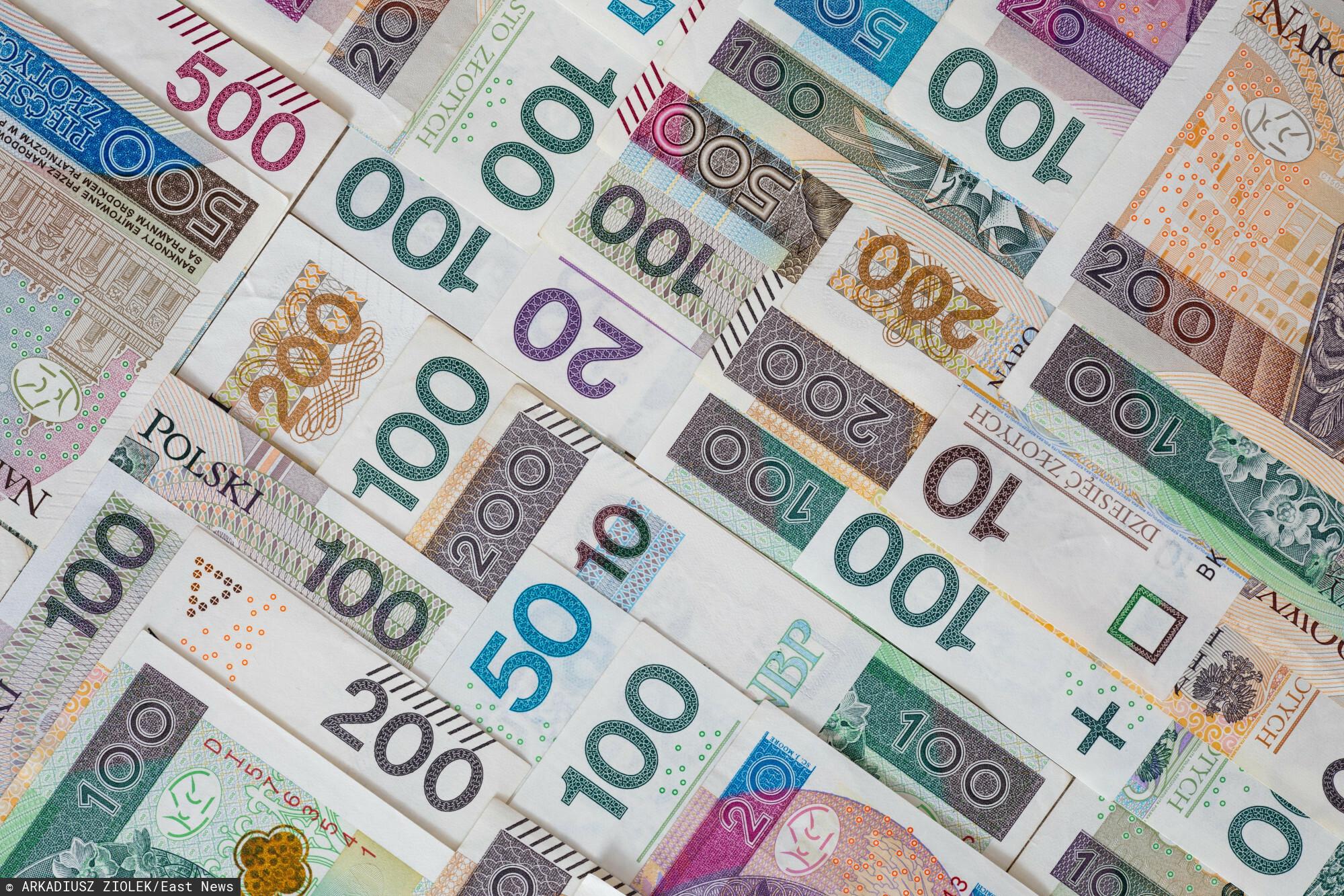 fot: Arkadiusz Ziolek/ East News. n/z Polskie banknoty.
