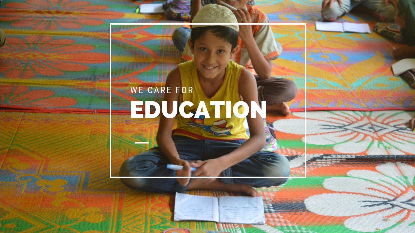 Rohingya child getting basic education in our child development center