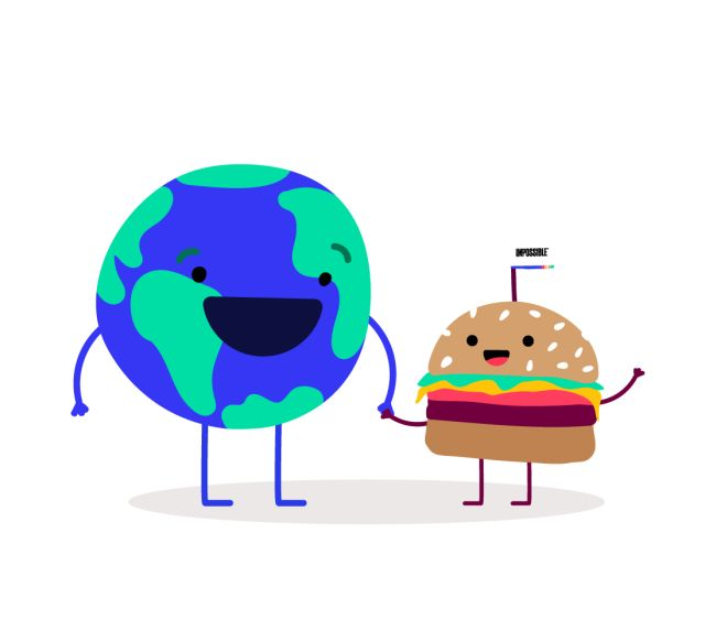 Earth globe holding hands with Impossible™ Burger to celebrate Earth Day