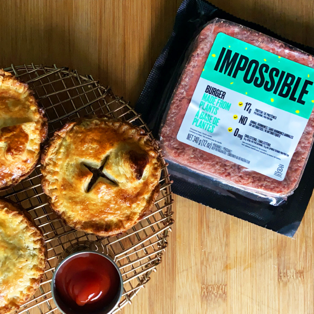 Mini Impossible™ Tourtières—one of Canada's favourite meat pie recipes—made with Impossible™ Burger.