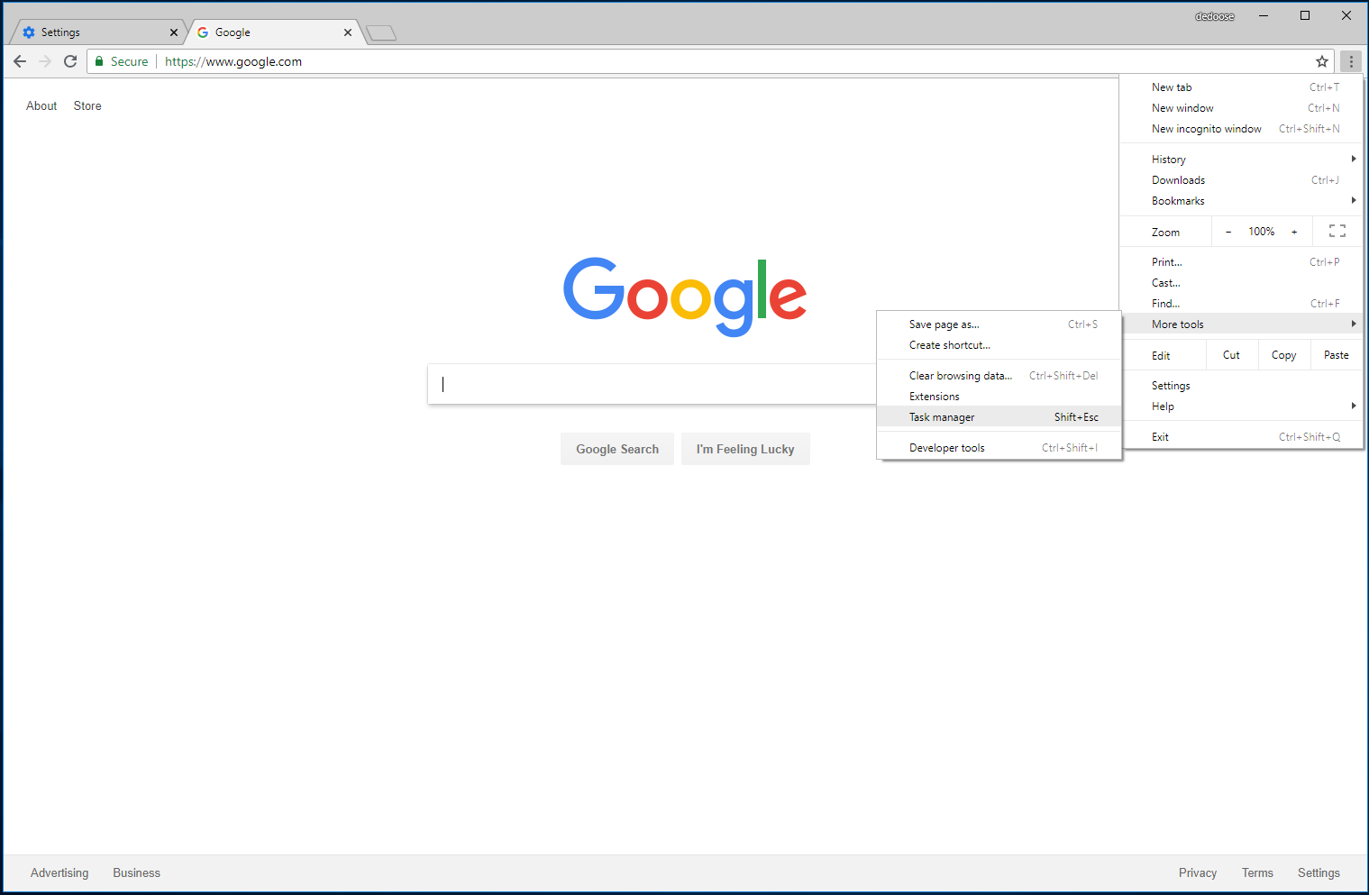 "Chrome ""Task Manager"" Location"