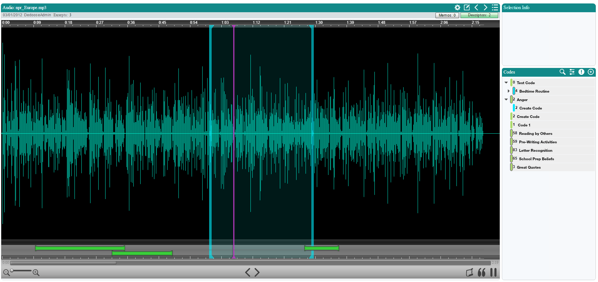 Screenshot of the Audio Viewer