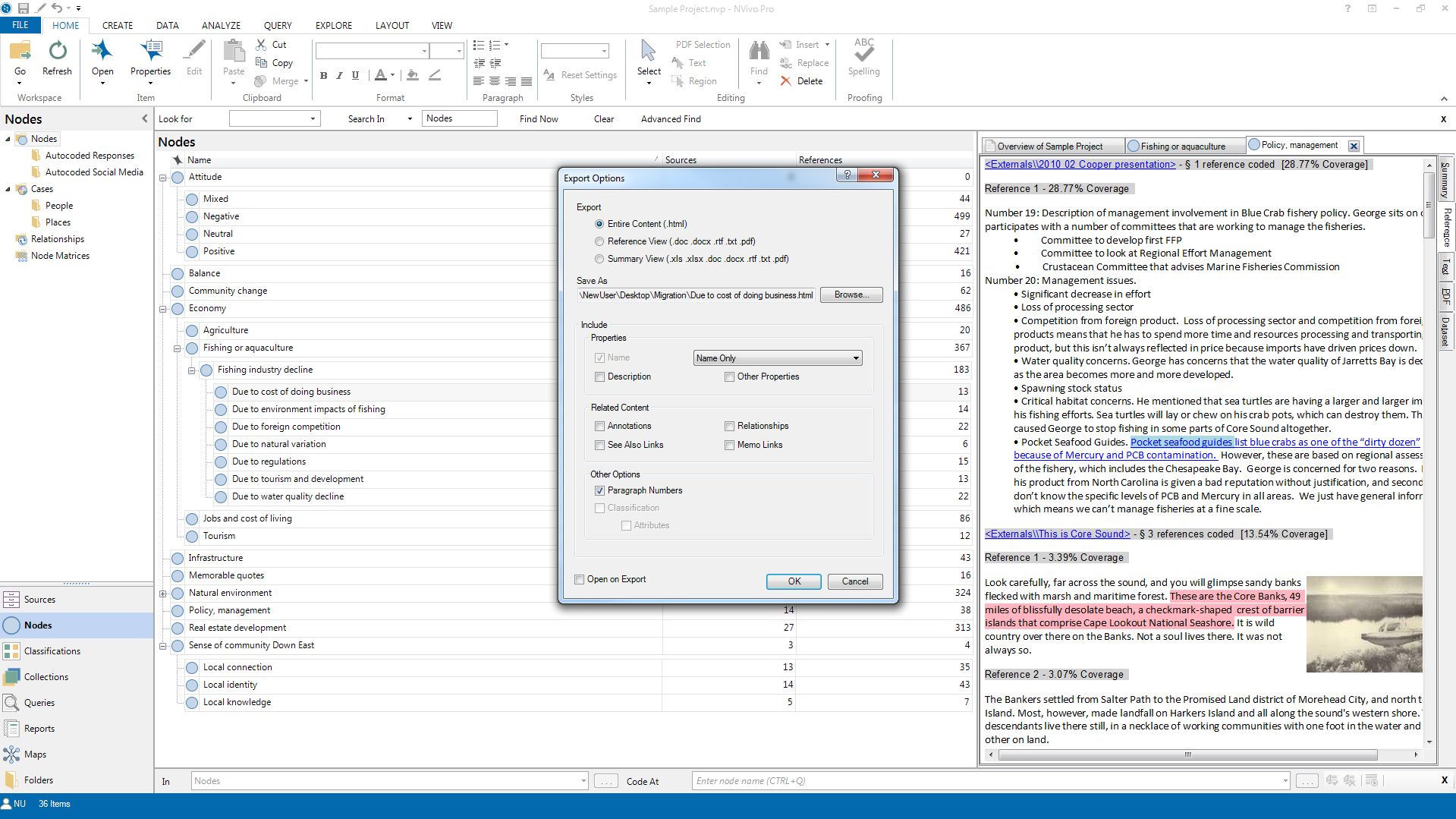 "Step 1 of ""Migrating from NVivo"", Windows Version"