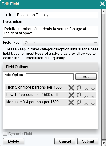 "Defining a new field, ""Population Density"" as an option list."