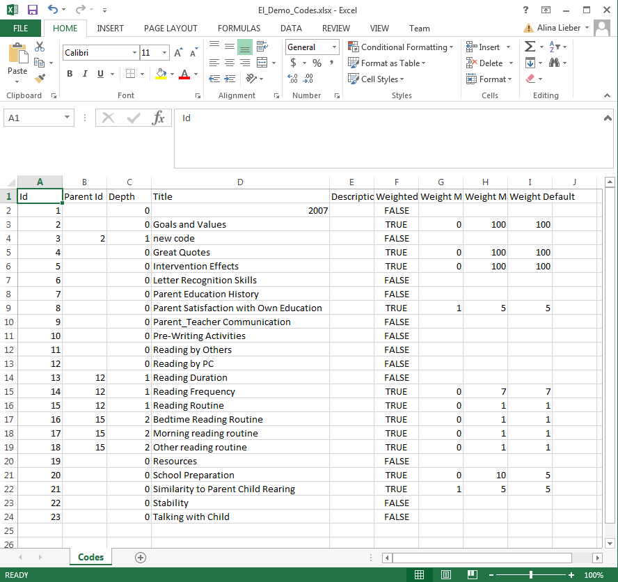 Example of a Compatible Code System in Excel
