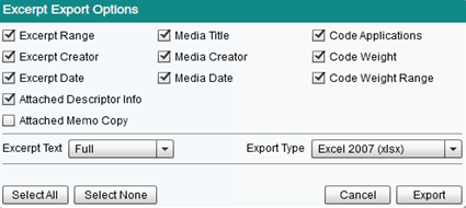 Preview of tthe Excerpt Exporter and Available Options