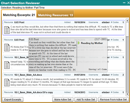 Screenshot of the Chart Selection Reviewer