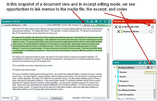 Screenshot Showing Where Memo's can be Added to a Document