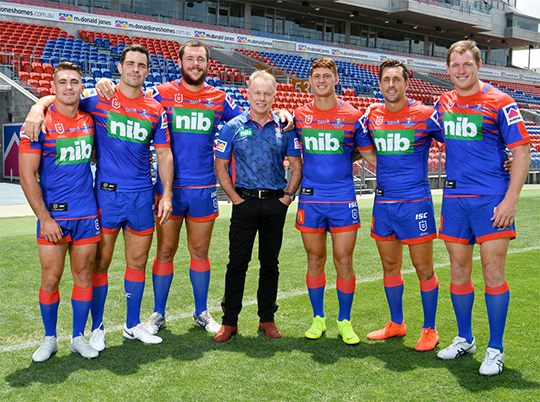 Newcastle Knights with CEO Mark Fitzgibbon