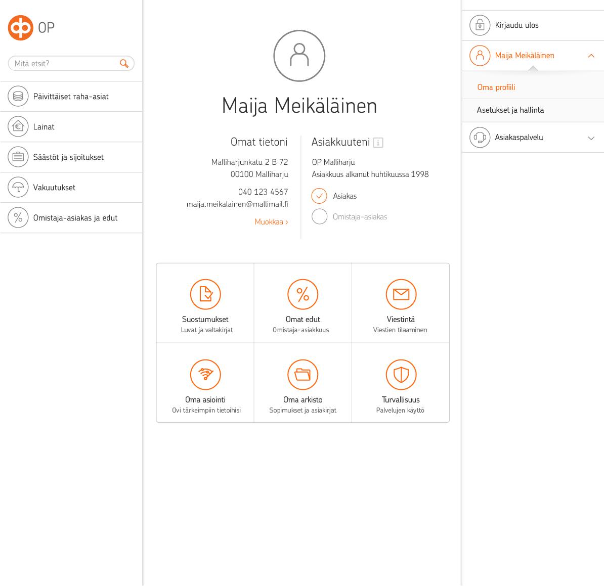 OP vastasi tietosuoja-asetukseen asiakaslähtöisesti suunnitellulla omalla profiililla. Oma profiili on asiakkaiden tiedon portaali op.fi:ssä.