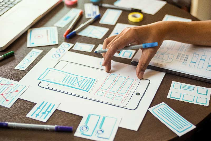 A student creating an app mockup