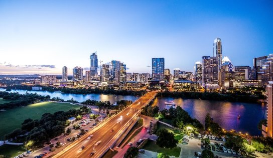 The city of Austin in the evening