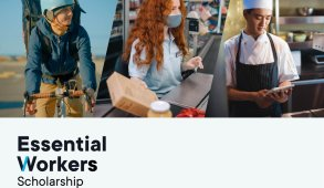 header image for essential workers scholarship