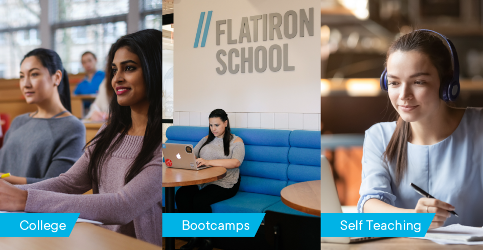 3 paths to becoming a data scientist: college, bootcamps, self-teaching
