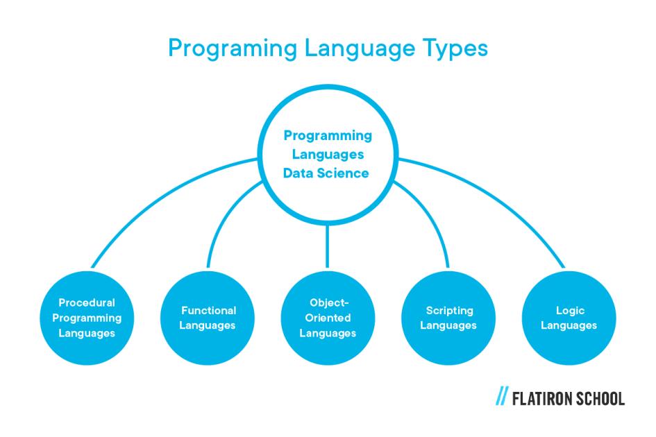 Data science programming language types: procedural programming languages, functional languages, object-oriented languages, scripting languages, logic languages
