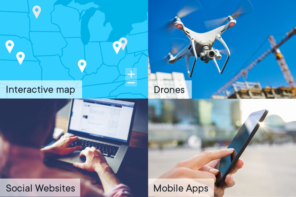 4 panel image of: Interactive map Show facebook on a computer Show a mobile app A drone