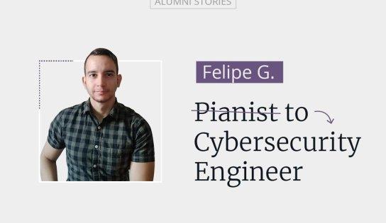 Bio photo of Felipe Giraldo Marin. Pianist to cybersecurity engineer
