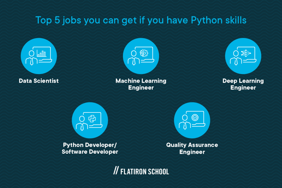top 5 jobs you can get if you have Python skills - data scientist, machine learning engineer, deep learning engineer, python developer/software developer, quality assurance engineer