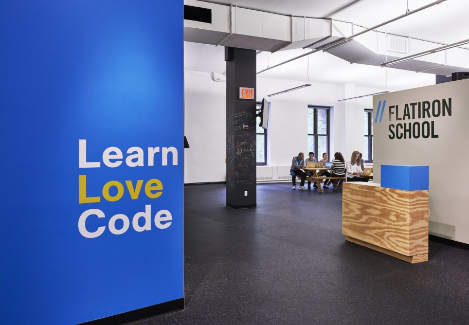 Blue wall that says Learn Love Code