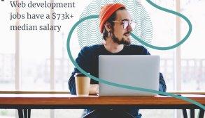 web developer jobs have a $73k+ median salary