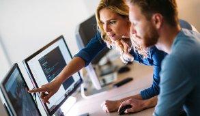 team of cyber engineers study data
