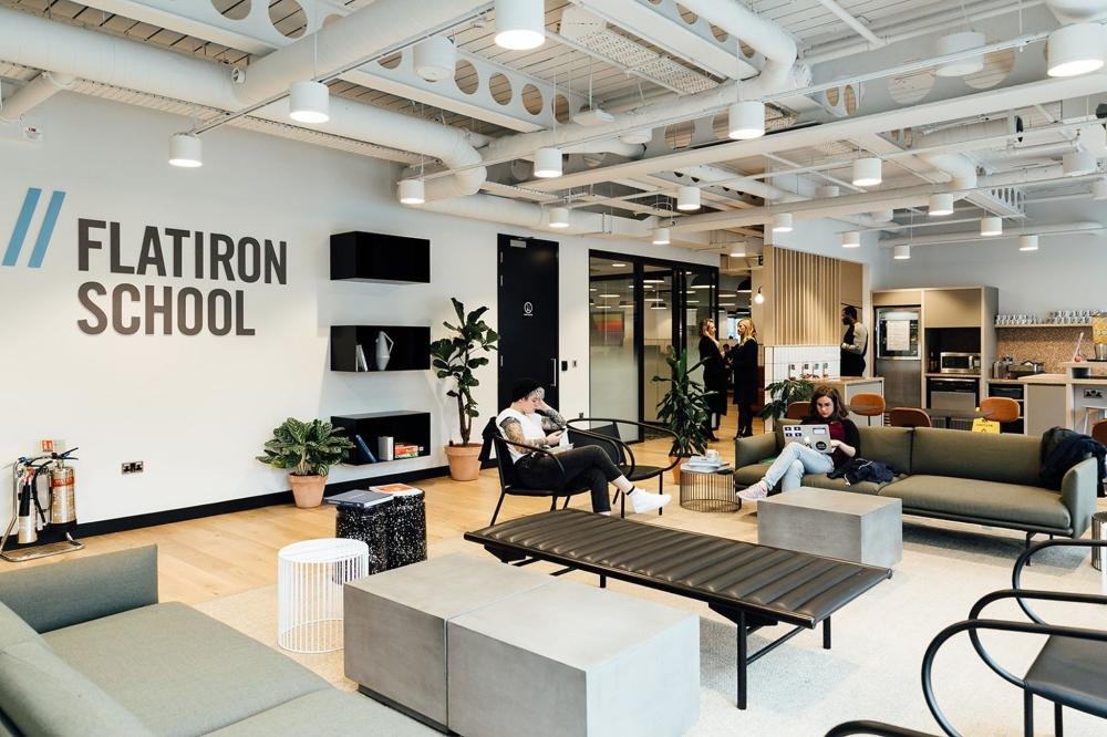 WeWork London common area with sofas and people working
