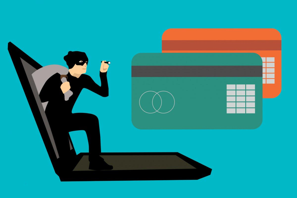 Cyber thief stealing credit cards