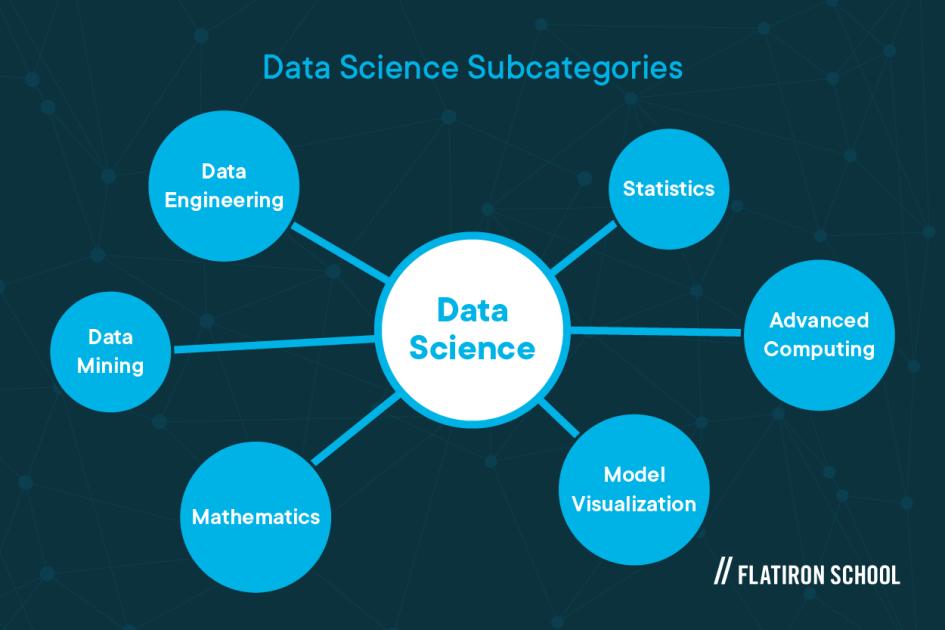 Data science subcategories: data engineering, data mining, mathematics, model visualization, advanced computng, statistics