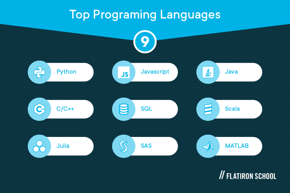Top data science programming languages: Python, C/C++, Julia, JavaScript, SQL, SAS, Java, Scala, MATLAB