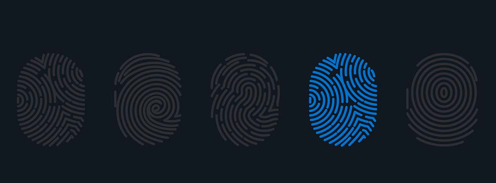 Fingerprints with one fingerprint highlighted