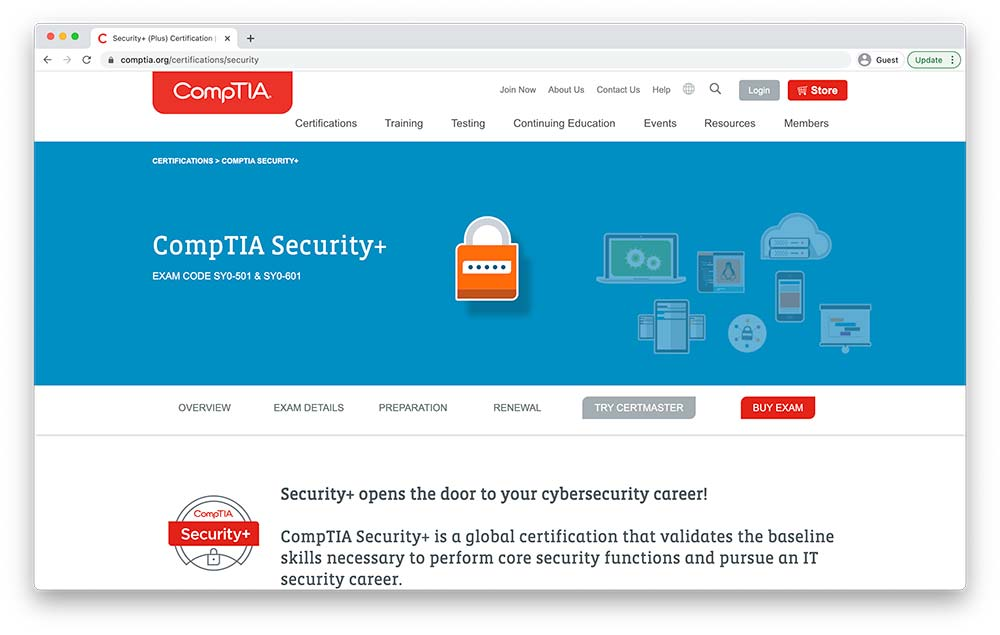 A screenshot of the CompTIA cyber security certification website