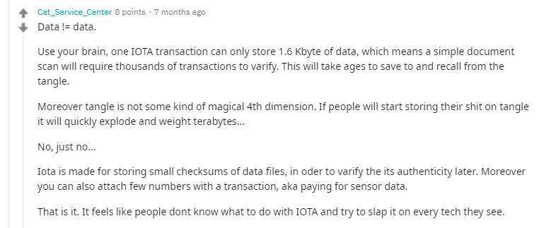 Do not use IOTA as a file storage