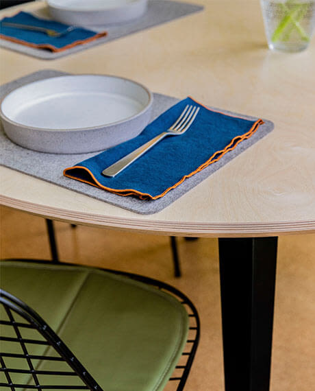 Tableware on the Birch Floyd Round Table.