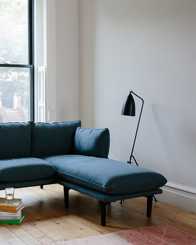 A close up of the Floyd Sofa with Chaise.