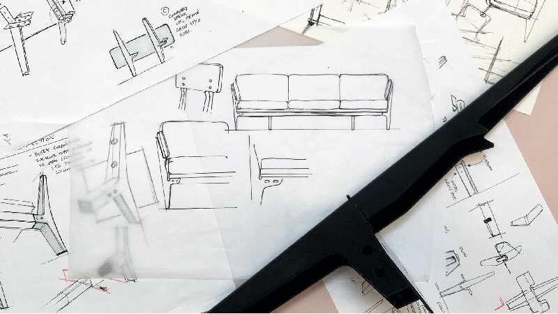 Sketches and leg prototype of the Floyd Sofa.